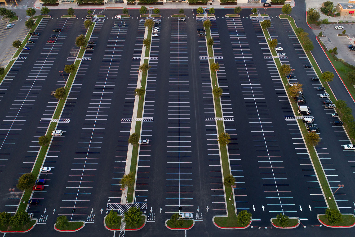 aerial parking lot maintenance and striping example