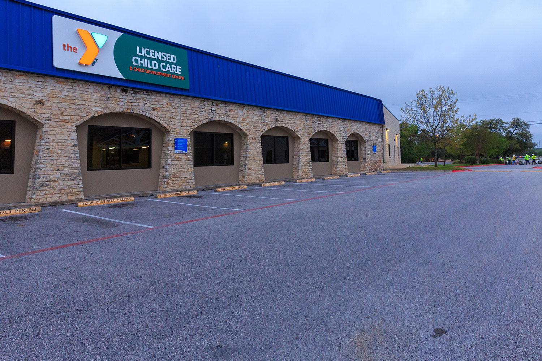 parking lot that needs striping and asphalt maintenance