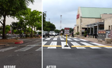 asphalt maintenance grocery store parking lot before & after