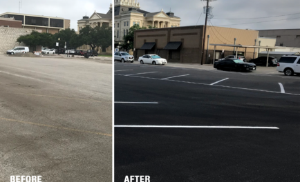restripe parking lot before/after Texas