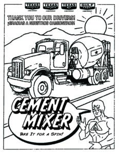 texas paving company cement mixer coloring page